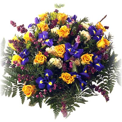 Bukiet skomponowany z kwiatów sezonowych i róż - Kwiaty Dużo Radości
